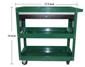 Tool Trolley Metal Utility Cart Green Locking Drawer 3 Shelves 123042