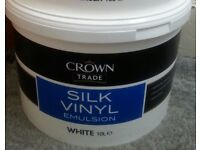 10Ltr Crown TRADE silk vinyl White RRP £68.99 - direct from Crown Decorating Centre