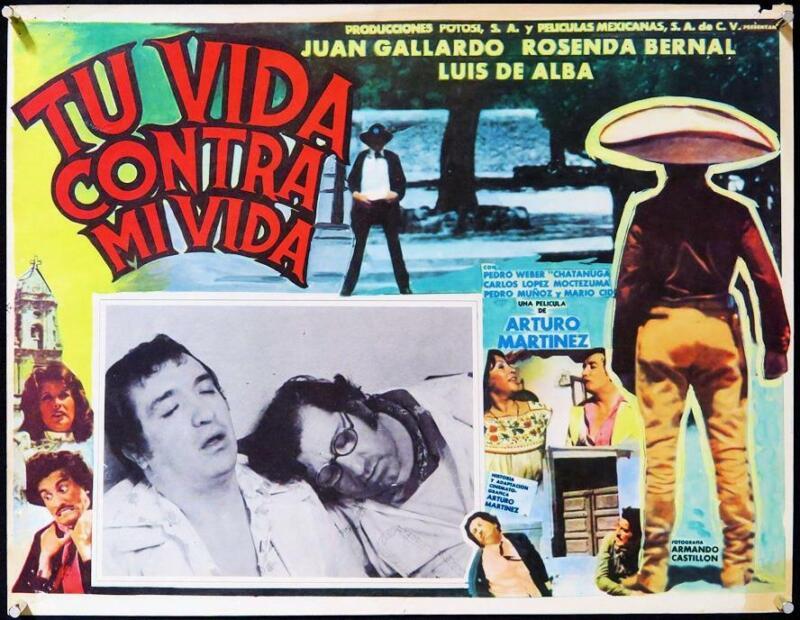 L339      TU VIDA CONTRA MI VIDA, original Mexican Lobby Card, Juan Gallardo
