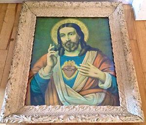 Antiquité. Art religieux. Sacré-Coeur Jésus. Cadre d'origine S