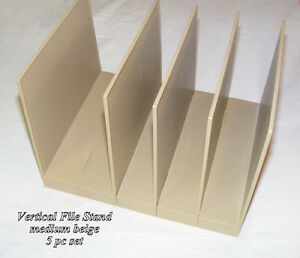 2 plastic vertical file stands, 1-5pc beige