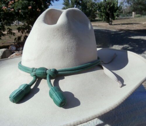 7-1/4 in. used Beige Sarratelli Cowboy Hat Military Service Acorn Hat Band