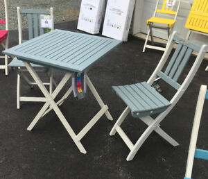 NEW - Patio/Balcony/Garden Table and Chairs (Grey/White)