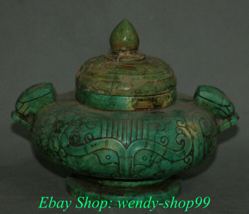 Chinese Hongshan Culture Old Turquoise Carving Beast Face Incense Burners Censer