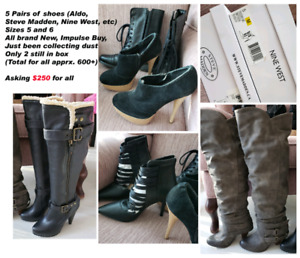 Knee high boots, 5 pairs of shoes sizes 35 & 6