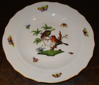 Herend Hungary Rothschild Bird 1520 Desert Pie Plate 8 1/4""