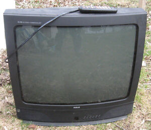 2 older T.V's and an old microwave