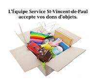 Avez-vous des objets à donner à l'Équipe St-Vincent-de-Paul ?