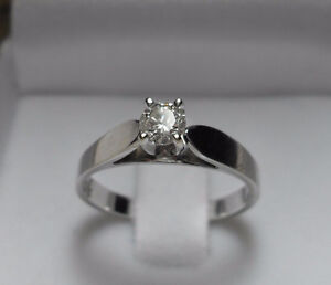 "14k white gold .50ct ""Solitaire"" Diamond Engagement Ring - Sz 6"