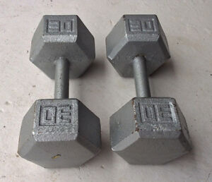 A pair of 30 lbs cast iron hex dumbbells (60 Lbs Total).