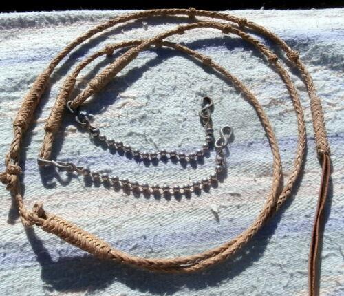 Vintage Clean Supple Braided Rawhide Romal Reins  Ball Rein Chains not an import