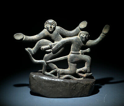 Rare Chinese Ancient Bronze Double Warriors Stand On Snake Figures Statue 5.70