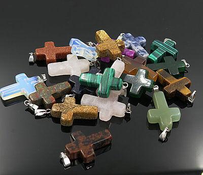 Fashion Natural Cross Gemstone stone Silver P Beads Pendant 30pcs/lot Wholesale