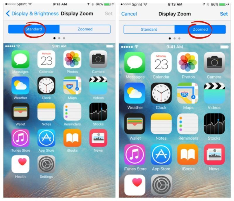 ZOOM YOUR DISPLAY ICONS
