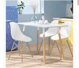 Wood style dining table & four chairs, white