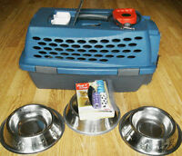 Small dog kennel, leash, 3 food/water dishes, + poop bag pkgs.