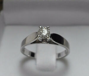 "14kt white gold .50ct ""Solitaire"" Diamond Engagement Ring-Size 6"