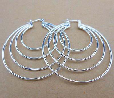 925 Sterlin Silver Plated Women Fashion Hoop Dangle Earring Studs Jewelry EHF06