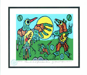 Norval Morrisseau THUNDERBIRD FACES CAVE BEAR print with COA