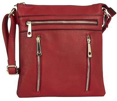 Big Handbag Shop Womens 2 Compartment Medium Size Messenger Cross Body Bag