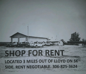 Large shop 3 miles out of Lloydminster for rent
