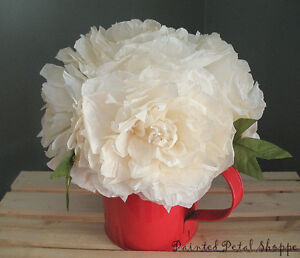 Cream Coffee Filter Peony in Red Watering Can/Spring Arrangement Belleville Belleville Area image 2