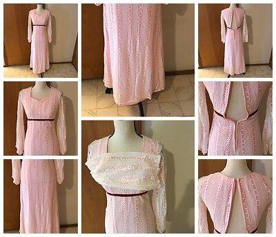 Handmade Vtg Seventies Pink Pioneer 3/4 Sleeve Lined Lace Maxi Dress Boho Hippie](Seventies Dress)
