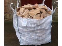 2x1ton bulk bags of barn dried seasoned hardwood firewood logs with free delivery and stacking £95