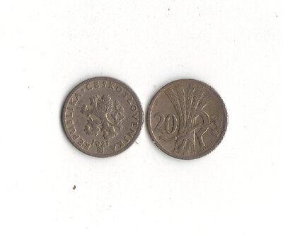 WORLD FOREIGN COINS * CZECHOSLOVAKIA * 20 HALERU 1921 *LOT Oc21*