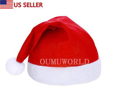 1 pc Santa Hat Comfort Christmas Hats Adults Kids Winter Xmas Cap Classic Red  ()