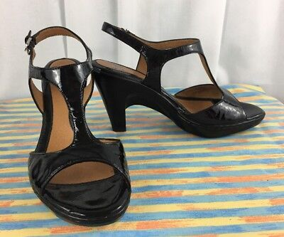 SOFFT  Black Patent Leather Strappy Wedge Platform Buckle Sandal Heel 6.5 Wide Strappy Patent Platform Sandal