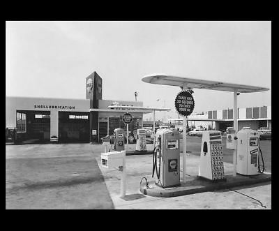 Vintage 1950s Shell Gas Station PHOTO Island Pumps Shell Oil Service Station