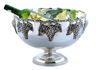 Punch Bowl ~ Silver Plated~ Ice Bucket~Champagne / Wine Cooler~ Grape ~ Bar Silver Plated Ice Bucket