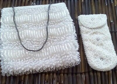 Vintage Walborg  White Beaded Purse and Eye Glass Case