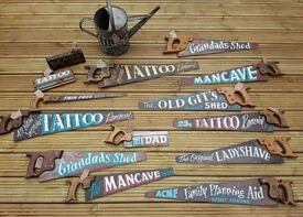 Vintage Saw & Tools Hand Painted by Signwriter Father's Day, Tattoo, Beard Trimmer, Old Git, Mancave