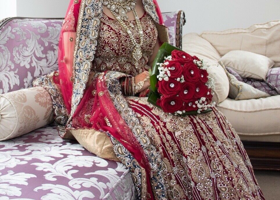 Beautiful Asian bridal lengah 3 piece in red. Velvet blouse and heavy detail on skirt .