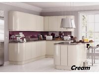 REPLACEMENT KITCHEN DOORS HANDLE-LESS HIGH GLOSS 22MM QUALITY SPRAY LACQUERED 8 STUNNING COLOURS