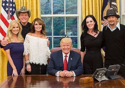 President Donald Trump PHOTO w/ Sarah Palin, Ted Nugent & Kid Rock, White House