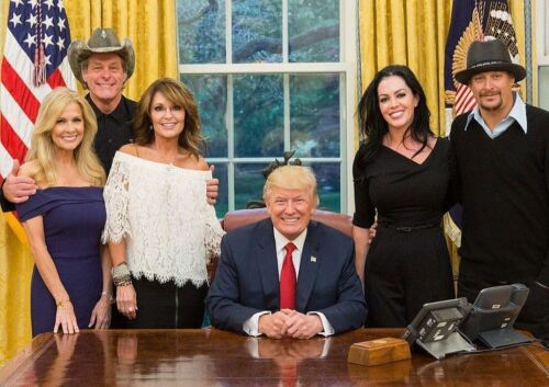 President Donald Trump PHOTO w/ Sarah Palin, Ted Nugent & Kid Rock, White House