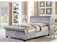 【PREMIUM QUALITY】 CRUSHED VELVET!! BRAND NEW DOUBLE OR KING SLEIGH DESIGNER BED FRAME WITH MATTRESS