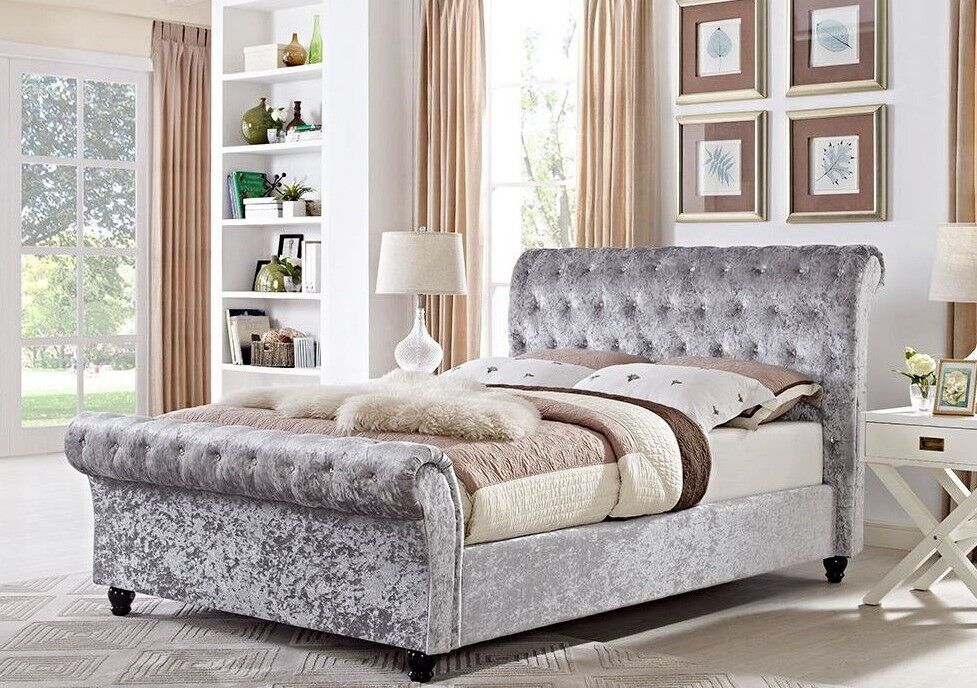 🛑🛑BEST SELLING ! BRAND NEW DOUBLE OR KING CRUSHED VELVET SLEIGH DESIGNER BED FRAME WITH MATTRESS