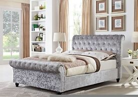 STRONG QUALITY *** CRUSHED VELVET!! BRAND NEW DOUBLE OR KING SLEIGH DESIGNER BED FRAME WITH MATTRESS