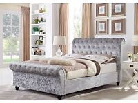 ★★ Brand New Sleigh Bed ★★ High Quality Crushed Velvet Double Bed/King Size Bed Frame
