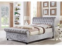 🌷💚🌷BEAUTIFUL DESIGN🌷💚🌷 CRUSHED VELVET FABRIC SLEIGH DOUBLE SIZE BED FRAME IN BLACK SILVER