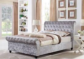 ❋★❋ CLASSIC SALE ❋★❋BRAND NEW ❋★❋ SINGLE / Double / King size Crushed Velvet Sleigh Designer Bed