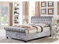 BEST SELLING BRAND! BRAND NEW DOUBLE OR KING CRUSHED VELVET SLEIGH DESIGNER BED FRAME WITH MATTRESS