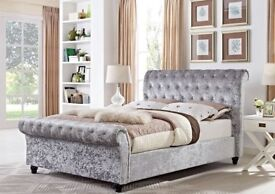 🌷💚🌷BEAUTIFUL DESIGN 🌷💚🌷CRUSHED VELVET FABRIC SLEIGH DOUBLE SIZE BED FRAME IN BLACK SILVER