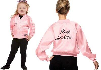 Women's Girl's Pink Lady 1970's Grease Fancy Dress Jackets Sandy Hen Kids Party