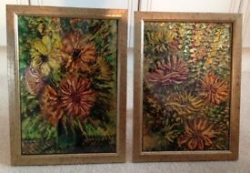 Beautiful Floral Artwork on Glass