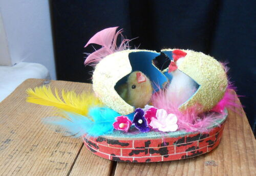 Vintage Japan Cotton Chicks in Egg Shells in Garden